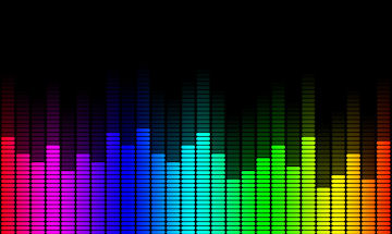 Image of a graphic equalizer in rainbow colours